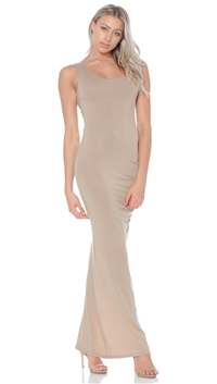 Nicole Andrews Collection Nude 'Forever' Maxi Tank Dress