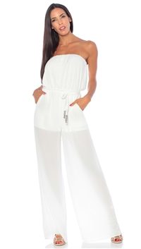 Nicole Andrews Collection White 'Goddess' Jumpsuit