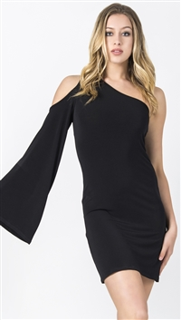 Nicole Andrews Black 'Goddess' Cold Shoulder Mini Dress