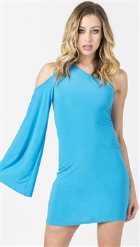 Nicole Andrews Bright Blue 'Goddess' Cold Shoulder Mini Dress