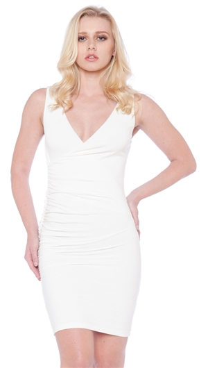 Nicole Andrews Collection White 'Forever' Wrap Mini Dress