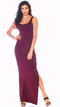 Nicole Andrews Burgundy 'Forever' Maxi Dress