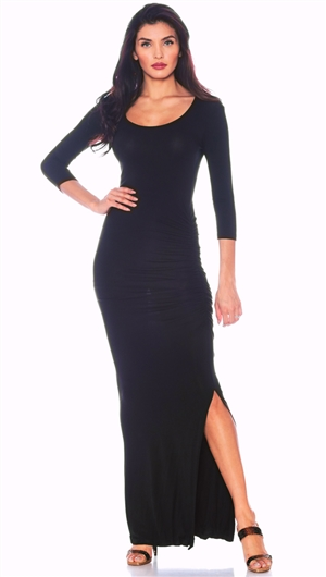 Nicole Andrews Black 3/4 Sleeve 'Forever' Maxi Dress