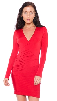 Nicole Andrews Red 'Forever' Wrap Mini Dress