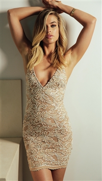 Baccio Couture Nude 'Nina' Hand Painted Caviar Mini Dress
