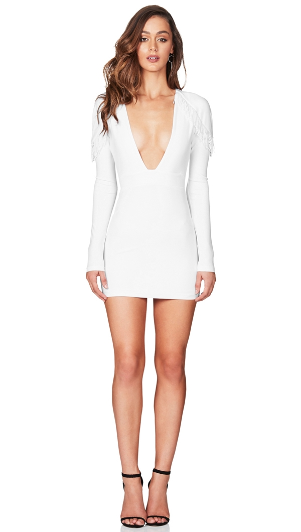 Nookie White  Mendez  Long Sleeve Mini Dress ea75eec90