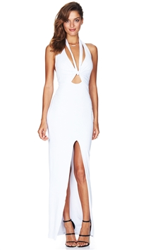 Nookie White Selene Halter Maxi Dress