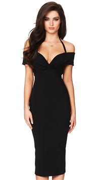 Nookie Black Athena Off Shoulder Midi Dresslder Midi Dress