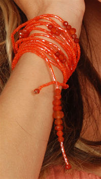 Sharon K Orange Bracelet w/ Orange Semiprecious Stones