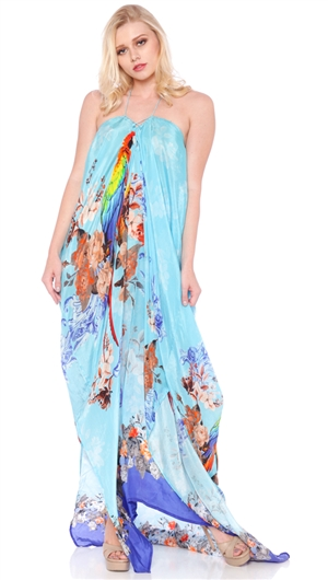 Parides Azure 'Parrot' Long 3 Ways To Style Kaftan