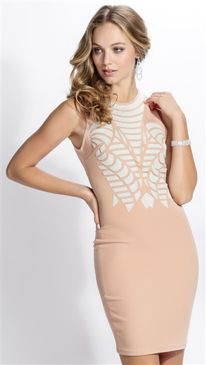 BaccioADDBaccio Couture Nude & White Hand Painted Paulina Mini Dress