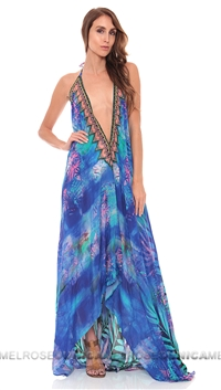 Parides Amazonia Exotic Royal Blue Tropical Print Long Dress