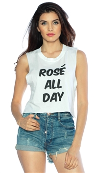 Private Party White 'Rose All Day' Cropped Muscle Tee