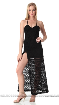 Nightcap Black Cherokee High Slit Maxi Dress