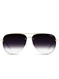 "Quay Gold/Fade ""High Key"" Rimless Mini Sunglasses"
