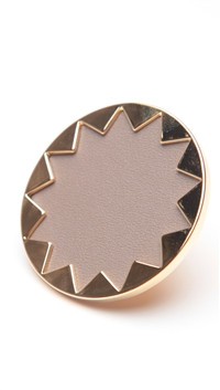 House of Harlow 14 kt Gold Sunburst Cocktail Ring with Khaki Leather