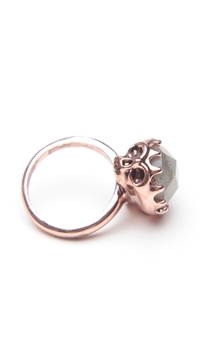House of Harlow 14 kt Rose Gold Plated Skull Cocktail Ring with Labradorite Stone