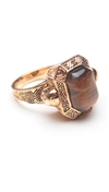House of Harlow 14 kt Gold Plated Engraved Double Skull Ring with Tigers Eye Stone