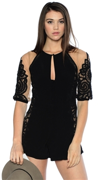 For Love & Lemons Black Valentina Romper
