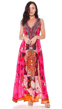Parides Rose Flamingo Long Dress