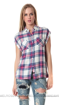 Rails Sleeveless White/Fuchsia Britt Button Down