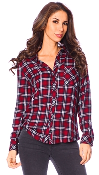 Rails Chianti & White Hunter Long Sleeve Button Up