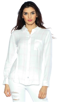 Rails White & Rose Long Sleeve Hunter Button Down