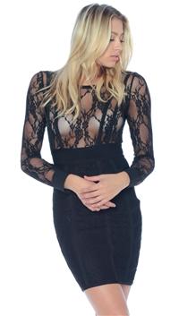 Sentimental NY Black Lace Bandage Mini Dress