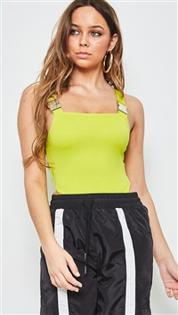 SALTY Neon Lime Buckle Strap Bodysuit