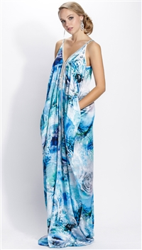 Baccio Couture Blue Sarina Silk Maxi Dress