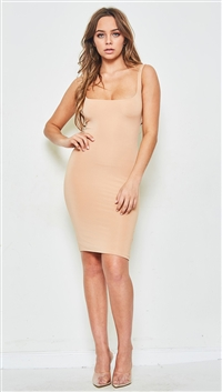 SALTY Knit Double Layered Nude Dress