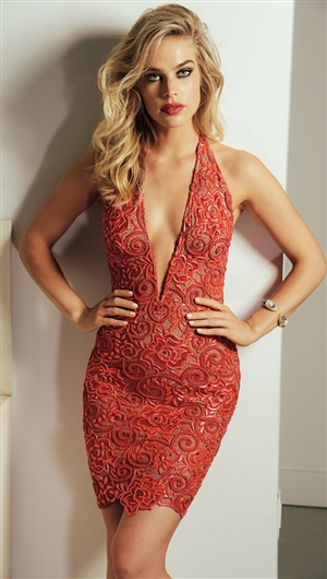 Baccio Couture Red 'Sharon' Hand Painted Caviar Mini Dress