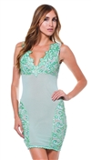 Baccio Couture Mint Shelly Hand Painted Mini Dress