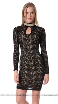 Sentimental NY Long Sleeve Lace Mini Dress