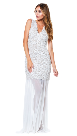 Baccio Couture Ivory Sury Hand Painted Maxi Dress