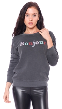 Daydreamer Faded Black 'Bonjour' Banded Sweater