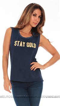 Tyler Jacobs Blue Stay Gold in Foil Tank