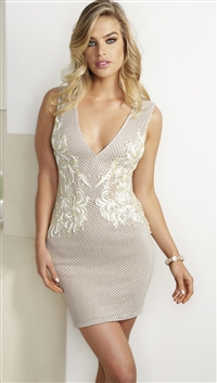Baccio Couture Nude & Ivory 'Tiara' Hand Painted Caviar Mini Dress