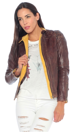 Malibu Road Chocolate & Gold 'Elton' Two Tone Leather Jacket