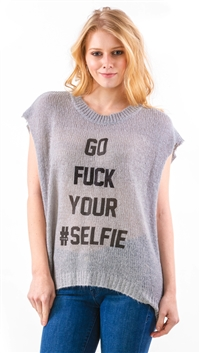 The Laundry Room Gray Glitter Selfie Cut-Off Top