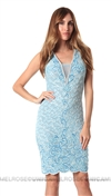Baccio Couture Light Blue Valerie Mini Dress