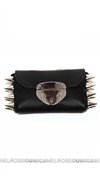 Ventidue Black Guilietta Leather Silver Studded Convertible Clutch