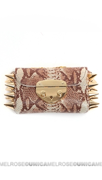 Ventidue Cream Guilietta Lizard Snake Print Gold Studded Convertible Clutch