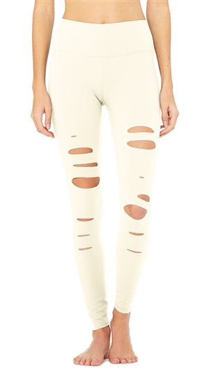 Alo Yoga Pristine High-Waist 'Ripped Warrior' Leggings