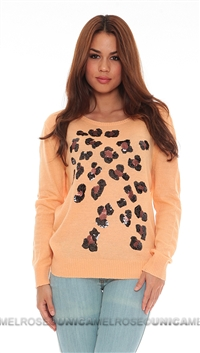 Wildfox Sherbert Sequin Leopard Spots Long Sleeve Sweater