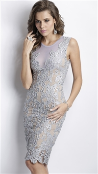 Baccio Couture Silver 'Yuri' Hand Painted Mini Dress