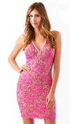 Baccio Couture Pink & Gold Zara Mini Dress