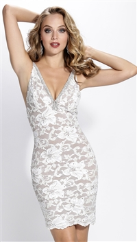 Baccio Couture White Hand Painted Zara Mini Dress