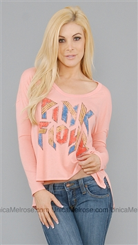 Chaser Salmon Boat Neck Long Sleeve Top