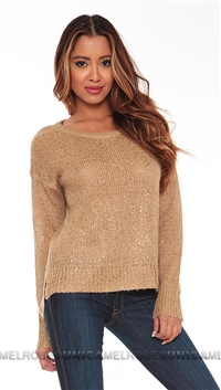 John & Jenn Gold Sequin Oxley Sweater